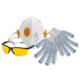 перчатки, респираторы, очки